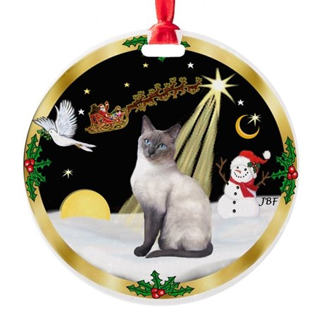 Gold Wreath & Siamese cat (blue) Ornament (Round)