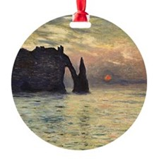 Monet The Cliff at Sunset Ornament (Round)