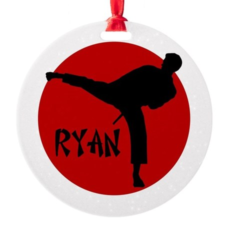 Ryan Karate Ornament (Round)