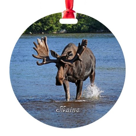 Maine Moose Ornament (Round)