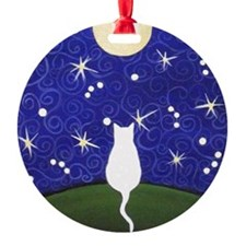 White CAT Starry Night MOON Ornament (Round)
