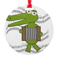 Crocodile With Accordion Ornament (Round)