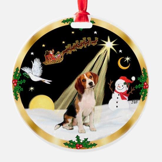 Night Flight & Beagle Ornament (Round)