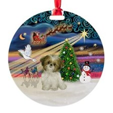 Xmas Magic - Shih tzu Puppy Ornament (Round)