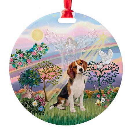 Cloud Angel 2 & Beagle Ornament (Round)