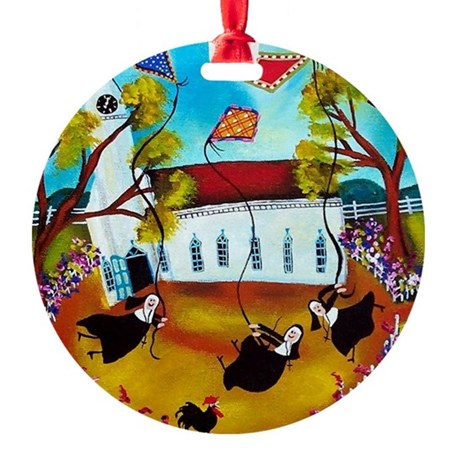 Funny Nuns Flying Kites Christmas Ornament (Round)