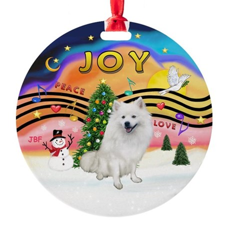 Xmas Music 2-American Eskimo Dog Ornament (Round)