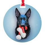 Black german shepherd Round Ornament