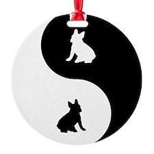 Yin Yang French Bulldog Ornament (Round)