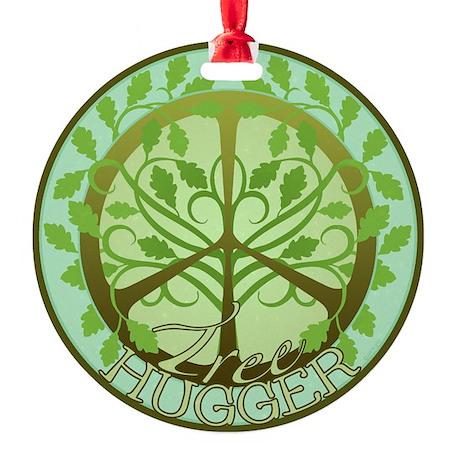 Peaceful Tree Hugger Ornament (Round)