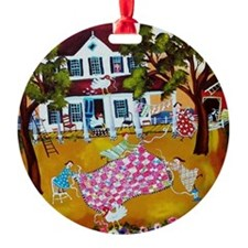Cute Quilting Hobby Ornament (Round)