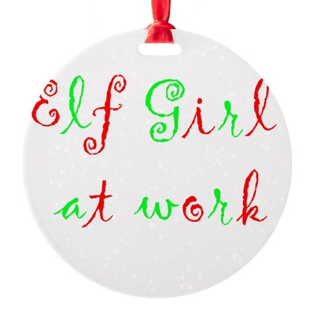Elf Girl at work Round Ornament