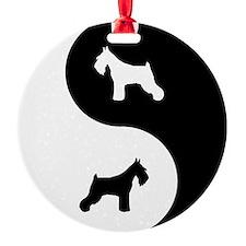 Yin Yang Schnauzer Ornament (Round)