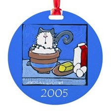 """Flour-faced Cat"" Christmas Ornament (Round)"