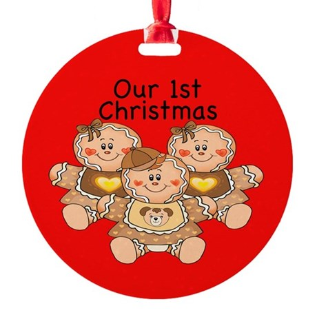 Triplets Gingerbread G/B 1st Christmas Ornament