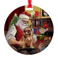 Santa's Brussels Griffon Ornament (Round)
