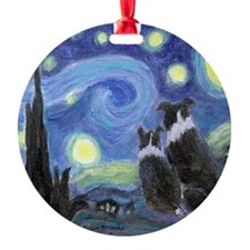 Starry Night Border Collie Ornament (Round)