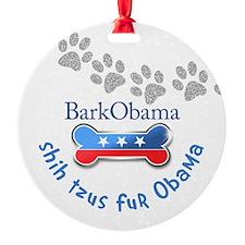 Shih Tzus fur Obama Ornament (Round)