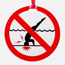Danger No Diving Ornament (Round)