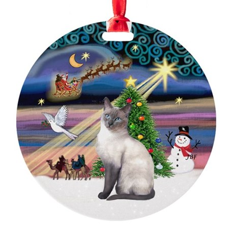 Xmas Magic & Siamese cat (blue) Ornament (Round)