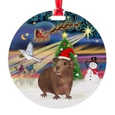 Xmas Magic - Brown Guinea Pig Ornament (Round)