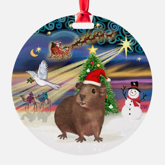 Xmas Magic - Brown Guinea Pig Ornament (Round)