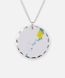 Palau Flag And Map Necklace Circle Charm