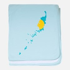 Palau Flag And Map baby blanket