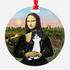 Mona's Black and White Cat Ornament (Round)