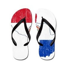 Paraguay Flag And Map Flip Flops