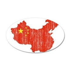China Flag And Map 20x12 Oval Wall Decal