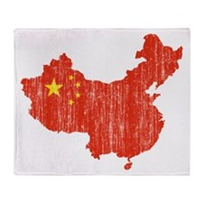 China Flag And Map Throw Blanket
