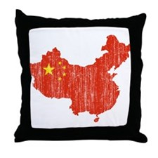 China Flag And Map Throw Pillow