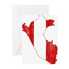 Peru Flag And Map Greeting Cards (Pk of 20)