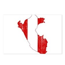 Peru Flag And Map Postcards (Package of 8)