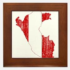 Peru Flag And Map Framed Tile