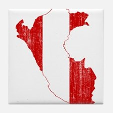 Peru Flag And Map Tile Coaster