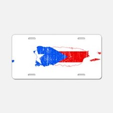 Puerto Rico Flag And Map Aluminum License Plate