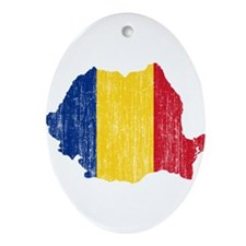 Romania Flag And Map Ornament (Oval)