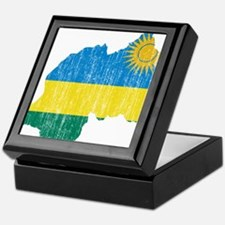 Rwanda Flag And Map Keepsake Box