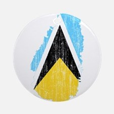 Saint Lucia Flag And Map Ornament (Round)