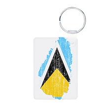 Saint Lucia Flag And Map Keychains