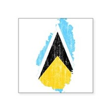 "Saint Lucia Flag And Map Square Sticker 3"" x 3"""