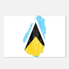 Saint Lucia Flag And Map Postcards (Package of 8)