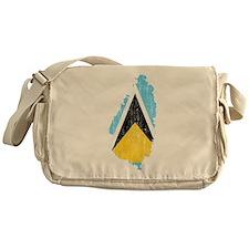 Saint Lucia Flag And Map Messenger Bag