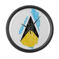 Saint Lucia Flag And Map Large Wall Clock