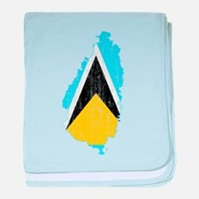 Saint Lucia Flag And Map baby blanket