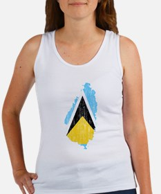 Saint Lucia Flag And Map Women's Tank Top