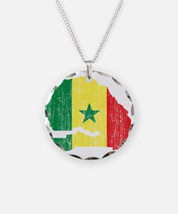 Senegal Flag And Map Necklace