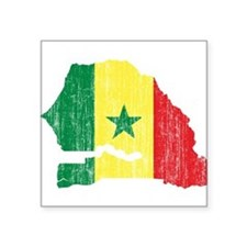"Senegal Flag And Map Square Sticker 3"" x 3"""
